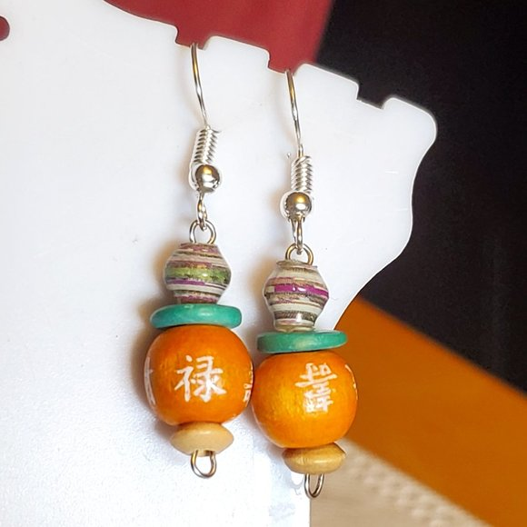 Silver Tone Hook Paper and Wood Bead Earrings NWT